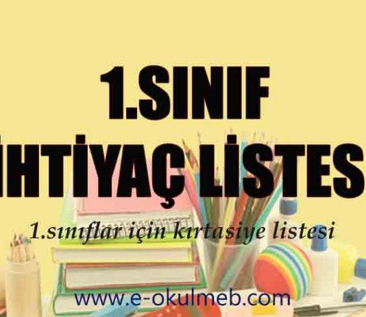 1. sınıf ihtiyaç listesi