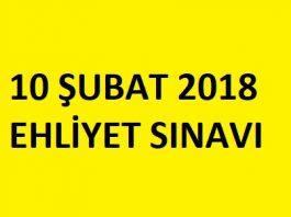 10 şubat 2018 ehliyet sınavı