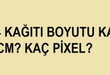 a4 boyutu kaç cm kaç pixel