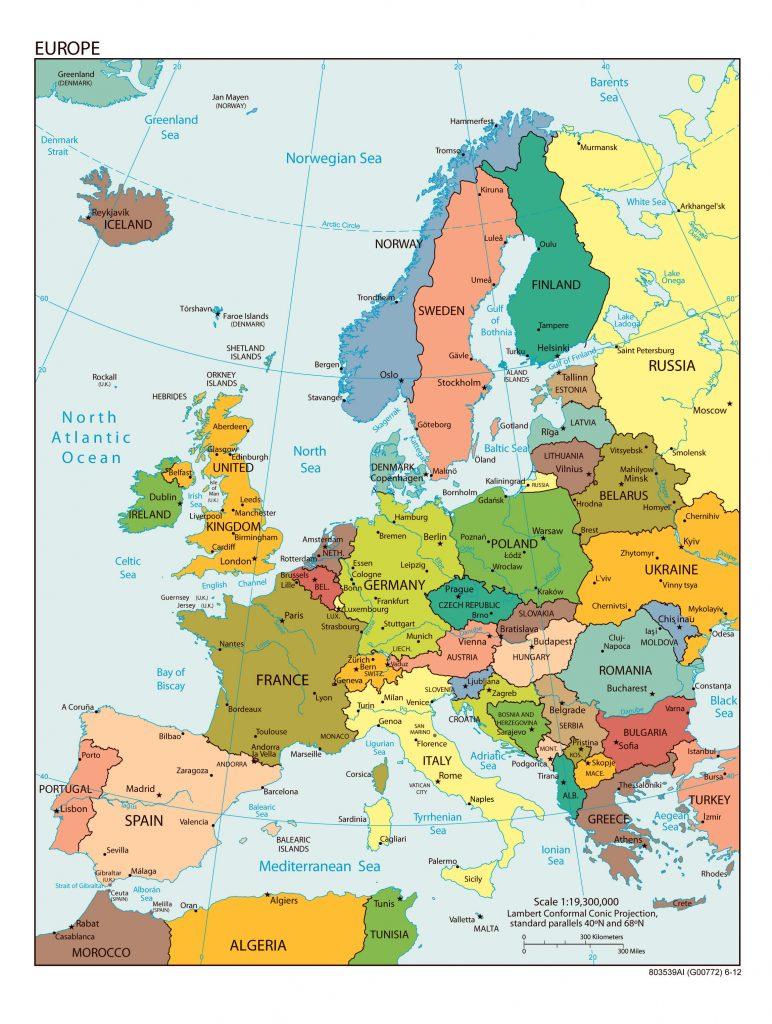 avrupa haritası ülkeler türkçe